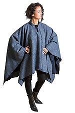 Blue Tweed Poncho by Lisa LeMair (Wool Poncho)