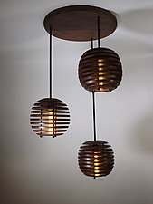 Triptych Chandelier by B.R. Delaney (Wood Chandelier)
