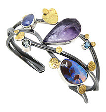 Amethyst and Opal Bracelet by Lesley Aine McKeown (Gold, Silver & Stone Bracelet)