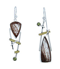 Red Rutile Earrings by Lesley Aine McKeown (Gold, Silver & Stone Earrings)