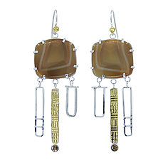 Brazilian Agate Earrings by Lesley Aine McKeown (Gold, Silver and Stone Earrings)