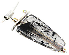 Black Tourmaline Quartz and Diamond Pendant by Lesley Aine McKeown (Gold, Silver & Stone Necklace)