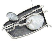 Sueno de la Luna Pendant by Lesley Aine McKeown (Silver, Pearl & Stone Necklace)