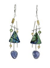 Tanzanite and Sterling Opal Earrings by Lesley Aine McKeown (Gold, Silver & Stone Earrings)