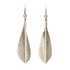 Sterling Silver Single Leaf Earrings by Sher Novak (Silver Earrings)