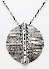 Vanessa Single Disk Pendant Necklace by Sher Novak (Silver Necklace)