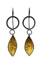 Bimetal Hoop and Leaf Earrings by Sher Novak (Gold & Silver Earrings)