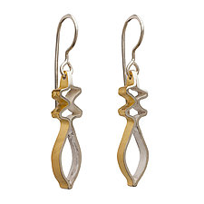 Bimetal Baroque Earrings by Sher Novak (Gold & Silver Earrings)