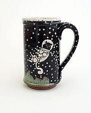 Tall Astronaut Cat Mug by Ian Buchbinder (Ceramic Mug)