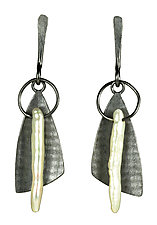 Sweeper Earrings by Tammy B (Silver & Pearl Earrings)