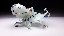 Blue RInged Octopus by Jeff & Heather Thompson (Art Glass Sculpture)