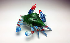 Blue Crab by Jeff & Heather Thompson (Art Glass Sculpture)
