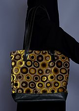 Yellow Velvet Circle Tote by Toshiki & Maryszka (Leather Purse)