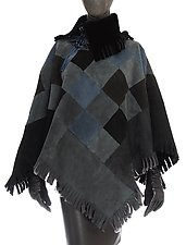 Powder Blue Shearling Poncho by Toshiki & Maryszka (Shearling Poncho)
