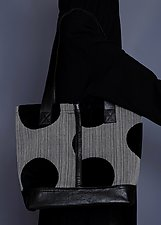 Black Velvet Polka Dot Tote by Toshiki & Maryszka (Leather Purse)