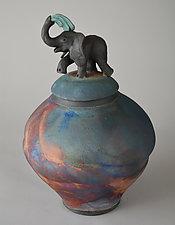 Elephant Jar with Matte Glaze by Ellen Silberlicht (Ceramic Jar)