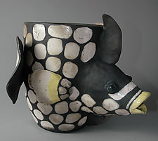 Trigger Fish in White by Ellen Silberlicht (Ceramic Vessel)