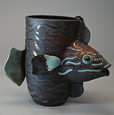 Trigger Fish in Blue by Ellen Silberlicht (Ceramic Vessel)