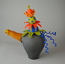 Court Jester by Ellen Silberlicht (Ceramic & Fiber Sculpture)