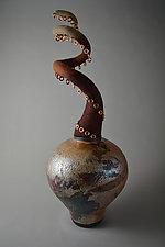 Desert Spiral by Ellen Silberlicht (Ceramic & Fiber Sculpture)