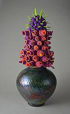 Mardi Gras by Ellen Silberlicht (Ceramic & Fiber Sculpture)