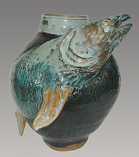 Swimming Upstream by Ellen Silberlicht (Ceramic Vessel)