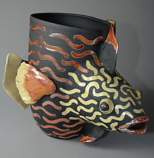 Trigger Fish in Orange by Ellen Silberlicht (Ceramic Vessel)