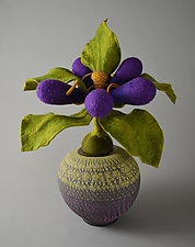 Purple Passion by Ellen Silberlicht (Ceramic & Fiber Sculpture)
