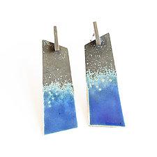Taos Blue Geometric Statement Earrings by Kyla Katz (Silver & Enamel Earrings)