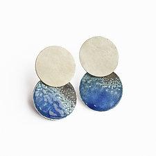 Taos Blue Earrings #1 by Kyla Katz (Silver & Enamel Earrings)