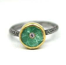Chrysoprase Ring with Diamond Inlay by Jenny Foulkes (Silver & Stone Ring)