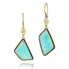 Sleeping Beauty Turquoise and Diamond Earrings by Jenny Foulkes (Jewelry Earrings)