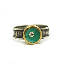 Diamond Inlay Chrysoprase Ring by Jenny Foulkes (Gold, Silver & Stone RIng)