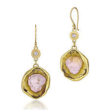 Tourmaline Slab Earrings by Jenny Foulkes (Gold & Stone Earrings)