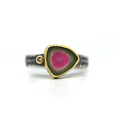 Tourmaline Slice Ring by Jenny Foulkes (Gold, Silver & Stone Ring)