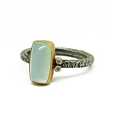 Dainty Aquamarine and Diamond Ring by Jenny Foulkes (Gold, Silver & Stone Ring)