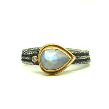 Rainbow Moonstone and Diamond Ring by Jenny Foulkes (Gold, Silver & Stone Ring)