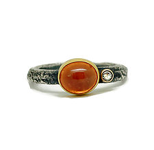 Spessartite Garnet and Diamond Ring by Jenny Foulkes (Gold, Silver & Stone Ring)