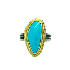 Layered Gold and Turquoise Ring by Jenny Foulkes (Gold, Silver & Stone Ring)