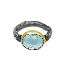 Blue Topaz Ring by Jenny Foulkes (Gold, Silver & Stone Ring, Size 7)