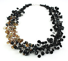 Black & Gold Confetti Necklace by Alicia Niles (Glass Beaded Necklace)