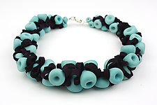 Turquoise & Plum Ribbon Necklace by Alicia Niles (Glass Beaded Necklace)