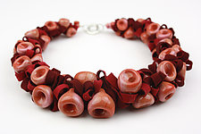 Coral & Raspberry Ribbon Necklace by Alicia Niles (Glass Beaded Necklace)