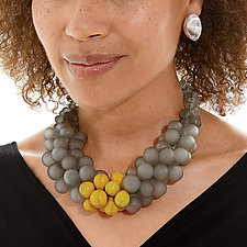 OvO Cluster Necklace in Gray and Ochre by Alicia Niles (Glass Bead Necklace)