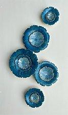 Aqua Blue Wall Sculpture by Debra Steidel (Ceramic Wall Sculpture)