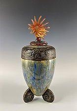 Time Traveler with Amber Glass by Debra Steidel (Ceramic Sculpture)