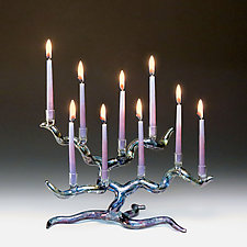 Tree of Life Menorah in Blue by Bandhu Scott Dunham (Art Glass Menorah)