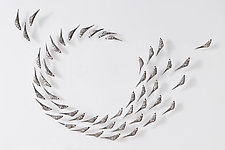 Set of 50 Birds in Flight by Jenifer Thoem (Ceramic Wall Sculpture)