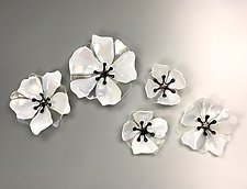 White Wallflowers by Lisa Becker (Art Glass Wall Sculpture)