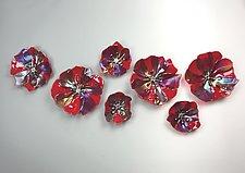 Red Wallflowers by Lisa Becker (Art Glass Wall Sculpture)